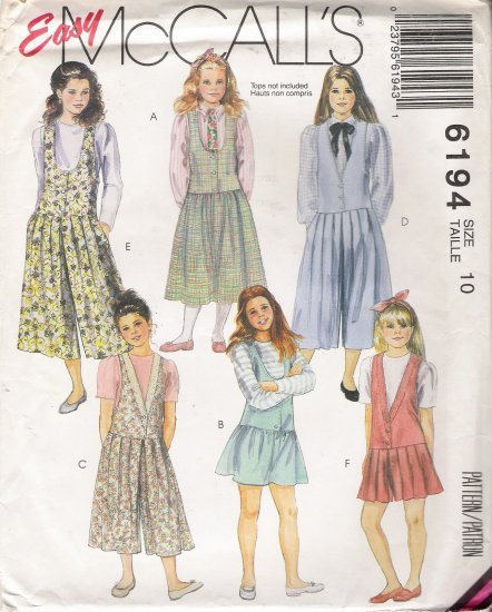 Girls' & Chubbies' Jumper Sewing Pattern Size 10 McCall's 6194 UNCUT