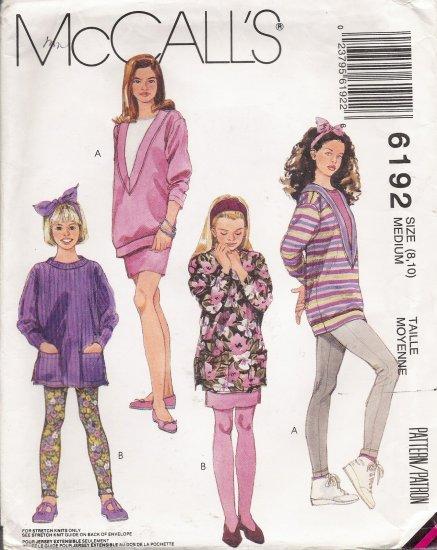 Girls' Tunic Top Skirt Leggings Sewing Pattern Size 8-10 McCall's 6192 UNCUT