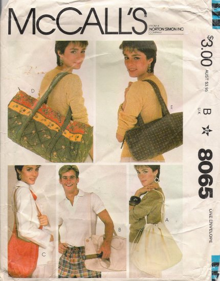 Vintage Sewing Pattern Summer Bags McCall's 8065 UNCUT