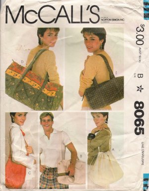Vintage Sewing Pattern Summer Bags McCall's 8065 UNCUT :  vintage sewing pattern summer bags mccalls 8065 uncut