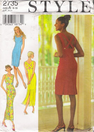 Misses' Dress Sewing Pattern Size 8-18 Style 2735 UNCUT