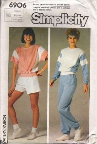 Vintage Sewing Pattern Misses' Top Pants Shorts Size 14-16 Simplicity 6906 UNCUT