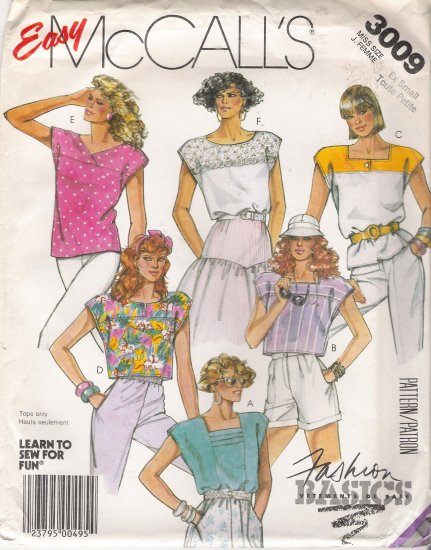Misses' Pullover Tops Sewing Pattern Size 6-8 McCall's 3009 UNCUT