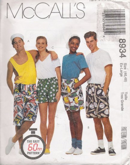 Misses', Men's Or Teen Boys Boxer Shorts Sewing Pattern Size 46-48 McCall's 8934 UNCUT