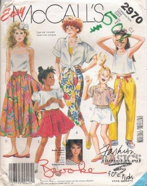 Girls' Pants Shorts Skirt Sewing Pattern Size 10-14 McCall's 2970 UNCUT