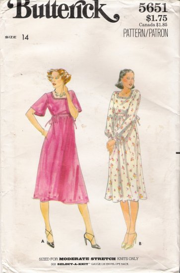 Vintage Sewing Pattern Misses' Dress Size 14 Butterick 5651 UNCUT