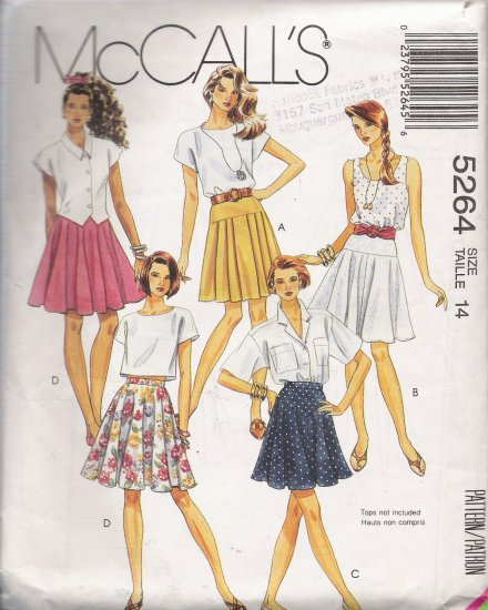 Misses' Skirt Sewing Pattern Size 14 McCall's 5264 UNCUT