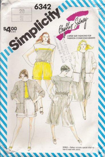 Vintage Sewing Pattern Misses' Shorts Culottes Top Jacket Size 20 Simplicity 6342 UNCUT