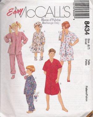 Children's, Boys' & Girls' Sleepwear Sewing Pattern Size 6-7 McCall's 8434 UNCUT
