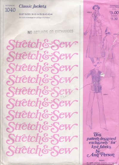 Vintage Sewing Pattern Classic Jackets Bust Sizes 30-44 Stretch & Sew 1040 UNCUT