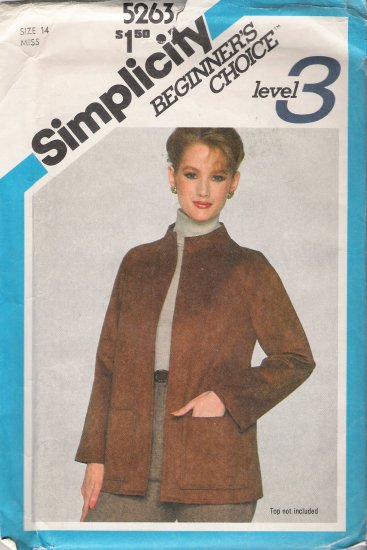 Vintage Sewing Pattern Misses' Unlined Jacket Size 14 Simplicity 5263 UNCUT