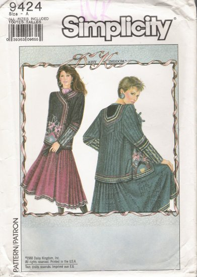 Misses' Lined Quilted Jacket Sewing Pattern Daisy Kingdom Size S-L Simplicity 9424 UNCUT
