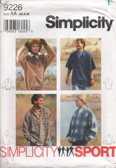 Misses', Men's & Teens' Top Sewing Pattern Size XS-M Simplicity 9226 UNCUT