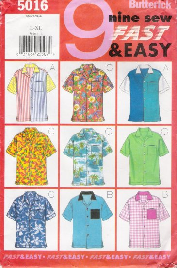 Unisex Shirt Sewing Pattern Size L-XL Butterick 5016 UNCUT
