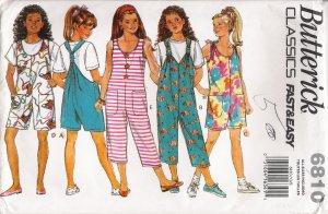Girls' Jumpsuit Sewing Pattern Size S-L Butterick 6810 UNCUT