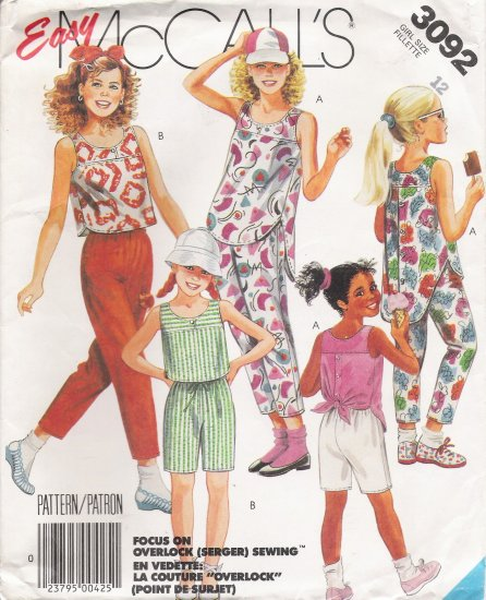 Girls' Top Pants Shorts Sewing Pattern Size 12 McCall's 3092 UNCUT