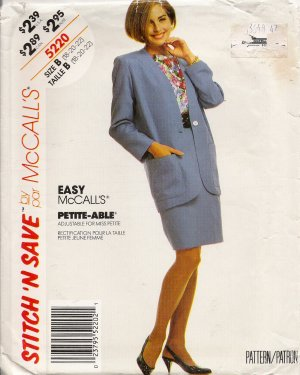 Misses' Jacket Top Skirt Sewing Pattern Size 18-22 McCall's 5220 UNCUT
