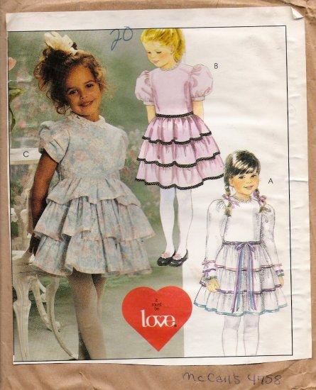 Children's & Girls' Dress Sewing Pattern Size 6-8 McCall's 4758 UNCUT