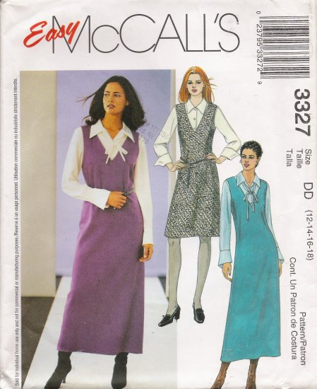 Misses' Jumper Blouse Tie Sewing Pattern Size 12-18 McCall's 3327 UNCUT