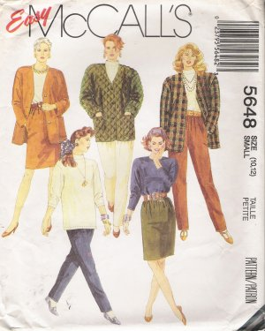 Misses' Jacket Top Skirt Pants Sewing Pattern Size 10-12 McCall's 5648 UNCUT
