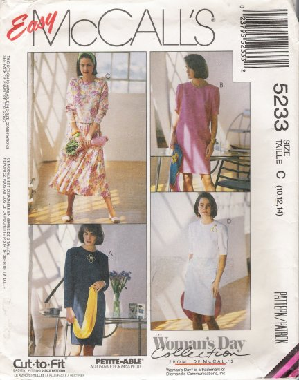 Misses' One Or Two Piece Dress Sewing Pattern Size 10-14 McCall's 5233 UNCUT