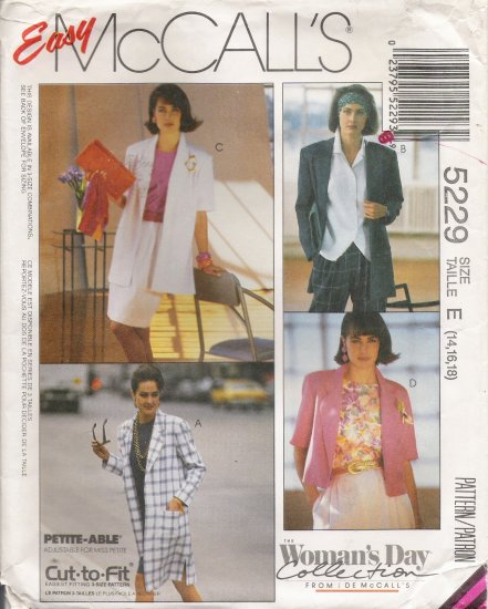 Misses' Coat Or Jacket Sewing Pattern Size 14-18 McCall's 5229 UNCUT