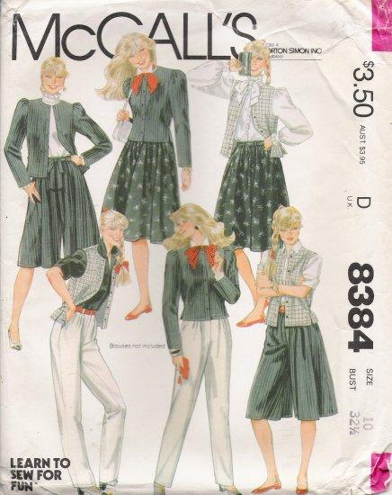Misses' & Junior Petite Jacket Vest Pants Skirt Culottes Sewing Pattern Size 10 McCall's 8384 UNCUT