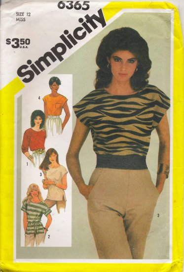 Misses' Pullover Top Sewing Pattern Size 12 Simplicity 6365 UNCUT