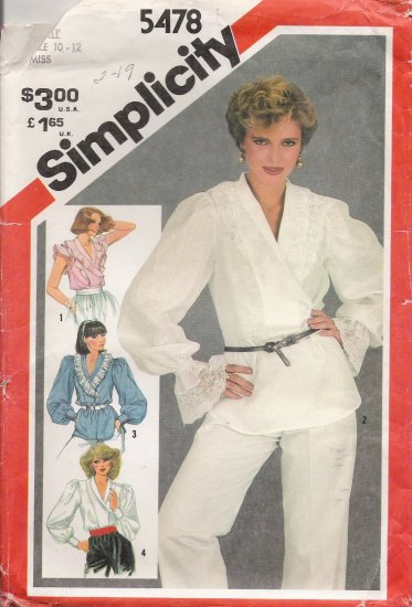 Misses' Pullover Blouse Sewing Pattern Size 10-12 Simplicity 5478 UNCUT