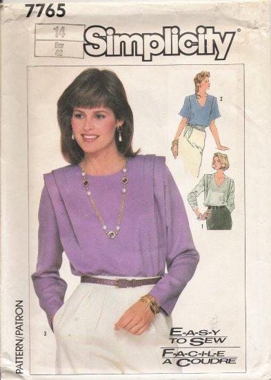 Misses' Blouse Sewing Pattern Size 14 Simplicity 7765 UNCUT