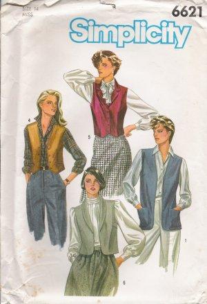 Misses' Vest Sewing Pattern Size 14 Simplicity 6621 UNCUT