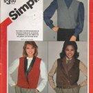 Misses' Vest Sewing Pattern Size 10-14 Simplicity 6109 UNCUT