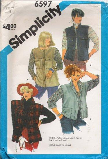 Misses' Vest Sewing Pattern Size 12 Simplicity 6597 UNCUT