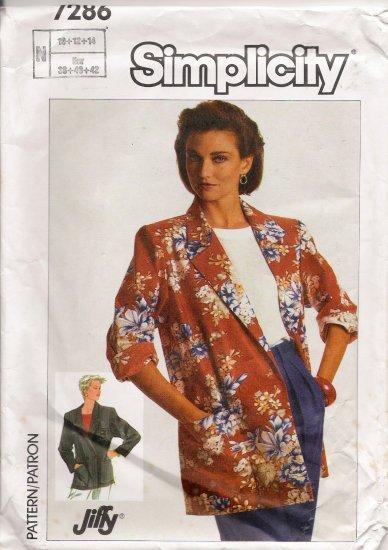 Misses' Jacket Sewing Pattern Size 10-14 Simplicity 7286 UNCUT