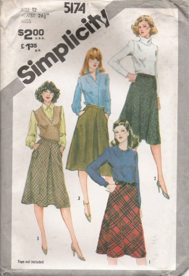 Misses' Bias Skirt Sewing Pattern Size 12 Simplicity 5174 UNCUT