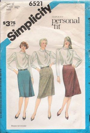 Misses' Slim Skirt Sewing Pattern Size 12 Simplicity 6521 UNCUT