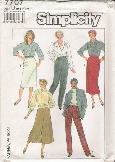 Misses' Skirt Pants Culottes Sewing Pattern Size 16-20 Simplicity 7707 UNCUT