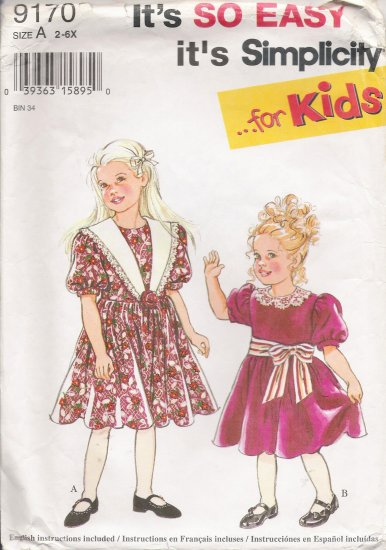 Child's Dress Sewing Pattern Size 2-6x Simplicity 9170 UNCUT