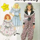 Girls' Dress & Romper Dress Sewing Pattern Size 7-10 Simplicity 7587 UNCUT