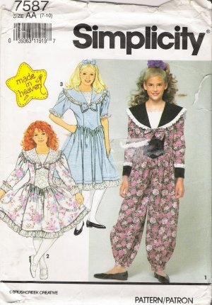 Girls' Dress & Romper Dress Sewing Pattern Size 7-10 Simplicity 7587 UNCUT