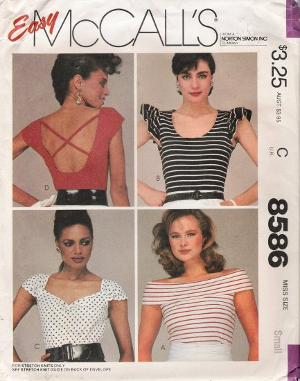 Misses' Top Sewing Pattern Size 10-12 McCall's 8586 UNCUT