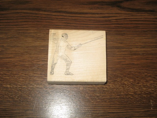 Fencer Wood Mounted Rubber Stamp by Rubber Baby Buggy Bumpers
