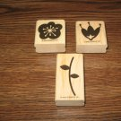 Flowers & Stem Wood Mounted Rubber Stamp Lot by Stampin Up