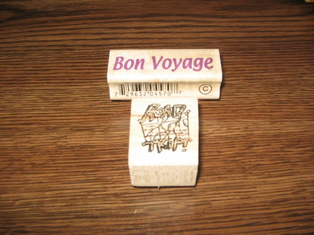 Bon Voyage & Road Trip Wood Mounted Rubber Stamps Lot Of 2