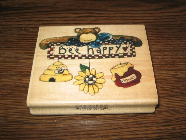 Bee Happy Teddy Bear Wood Mounted Rubber Stamp by Inkadinkado