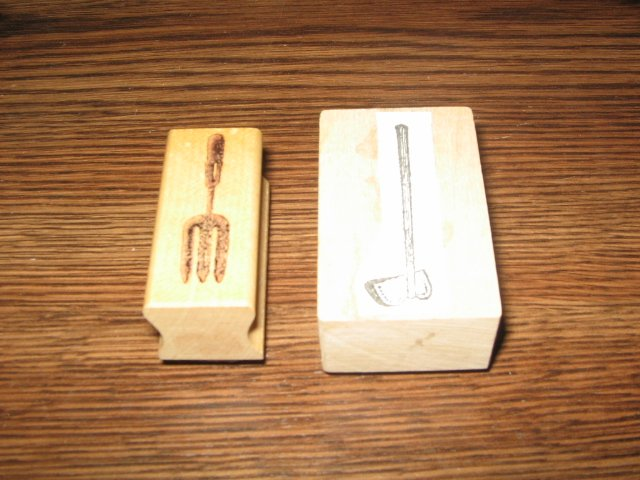 Garden Tools Wood Mounted Rubber Stamp Lot Of 2