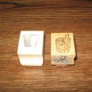 Garden Flower Pot & Bucket Wood Mounted Rubber Stamp Lot Of 2
