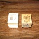 Garden Flower Pot & Bucket Wood Mounted Rubber Stamp Lot Of 2