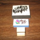 Thank You Wood & Foam Mounted Rubber Stamp Lot Of 3
