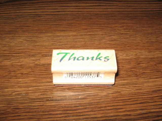 Thanks Wood Mounted Rubber Stamp